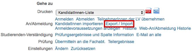 Noten via Import/Export erfassen