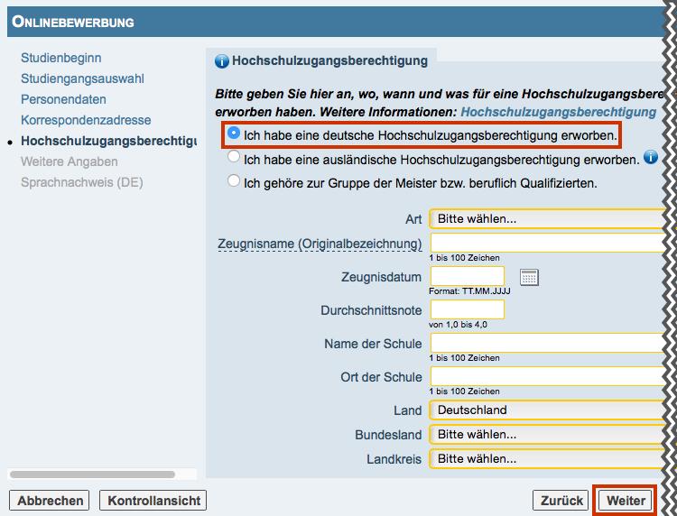whlen sie auf der seite hochschulzugangsberechtigung die option ich habe eine deutsche hochschulzugangsberechtigung erworben aus ergnzen sie die - Online Bewerbung Uni Koln